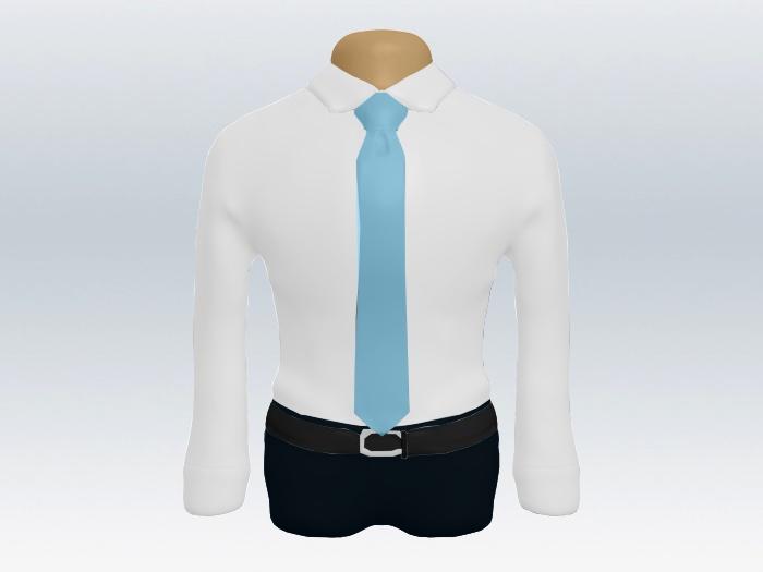 白ワイシャツと水色無地ネクタイの着こなし