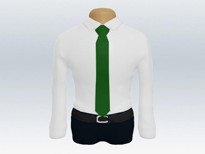 白ワイシャツとグリーン無地ネクタイの着こなし
