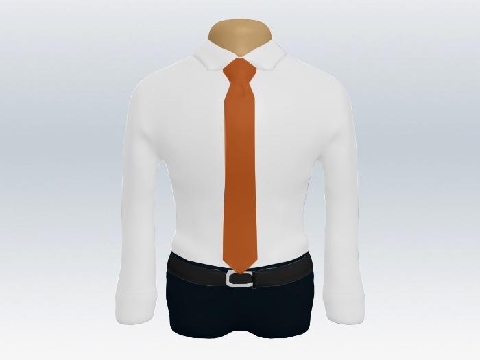 白ワイシャツとオレンジ無地ネクタイの着こなし