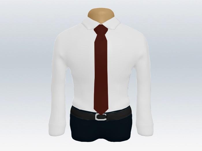 白ワイシャツと赤無地ネクタイの着こなし