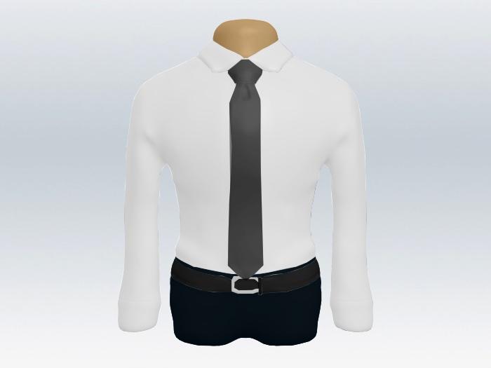 白ワイシャツと灰色無地ネクタイの着こなし