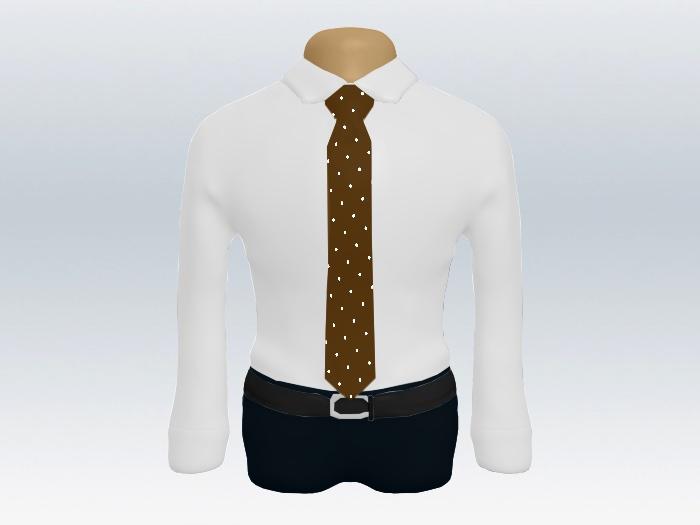白ワイシャツブラウンドットネクタイ