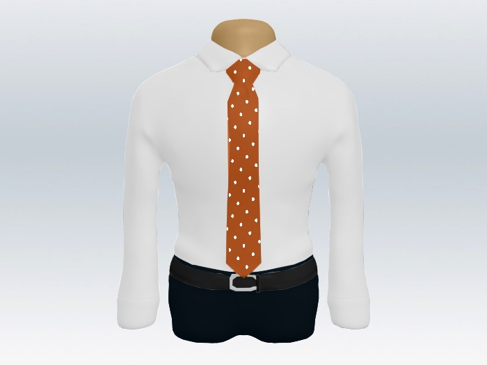 白ワイシャツオレンジドットネクタイ