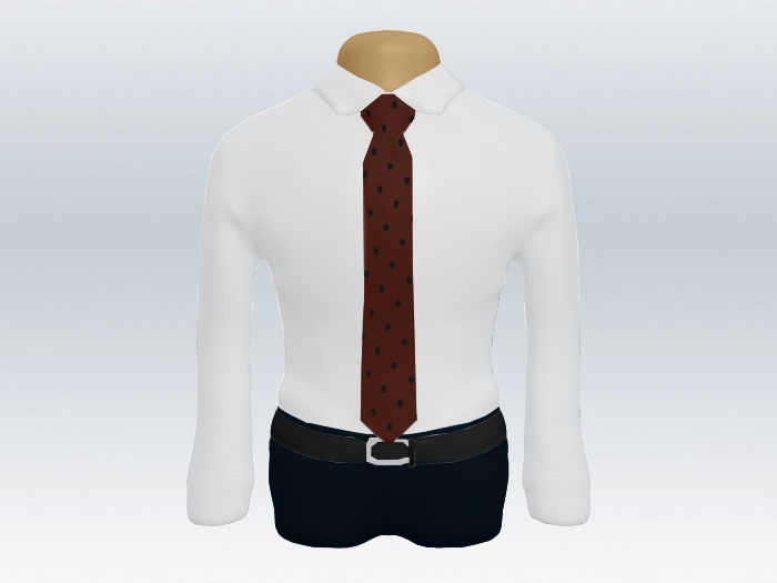 白ワイシャツレッドドットネクタイ2