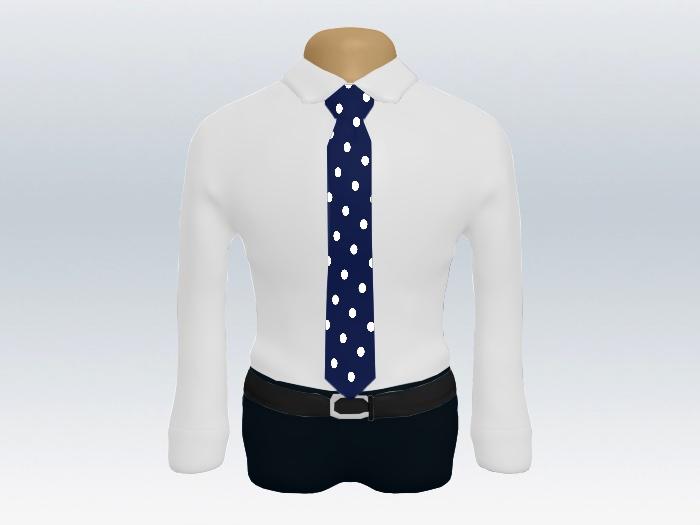 白ワイシャツ紺色水玉ネクタイ