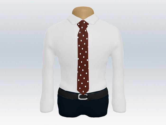 白ワイシャツレッドドットネクタイ