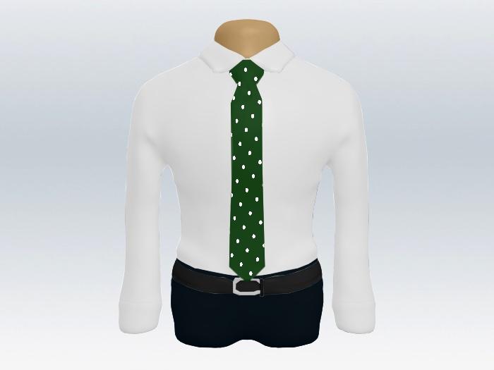 白ワイシャツ緑色ドットネクタイ