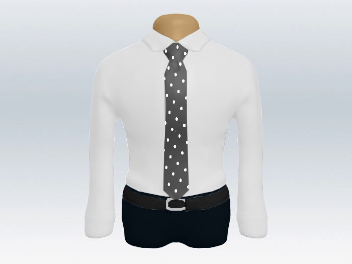 白ワイシャツグレードットネクタイ
