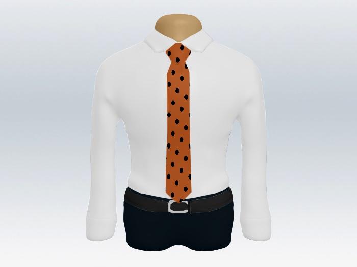 白ワイシャツオレンジドットネクタイ2