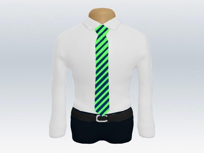 紺緑ストライプネクタイと白ワイシャツ