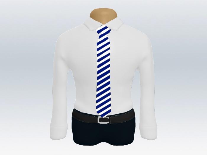 ホワイトネイビーストライプネクタイと白ワイシャツ