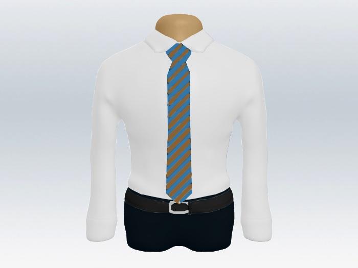 水色ブラウンストライプネクタイの着こなし