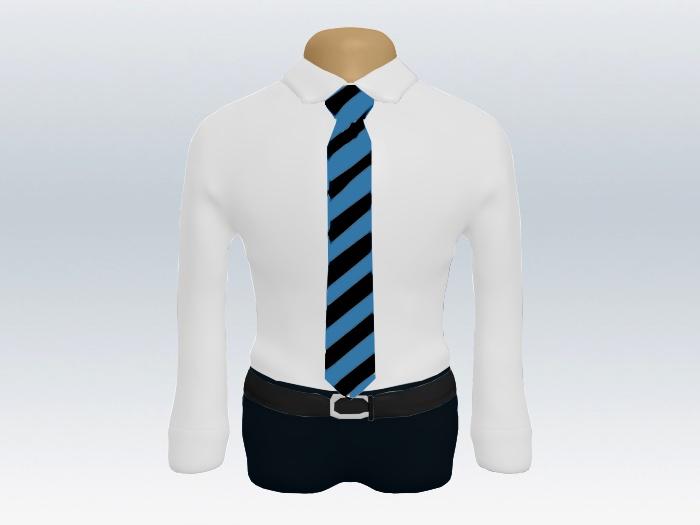 ブルーブラックストライプネクタイと白ワイシャツ