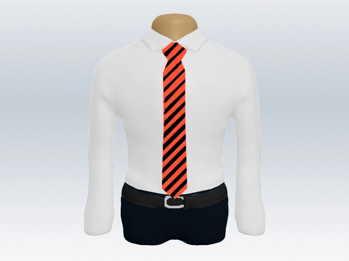 黒レッドストライプネクタイと白ワイシャツ