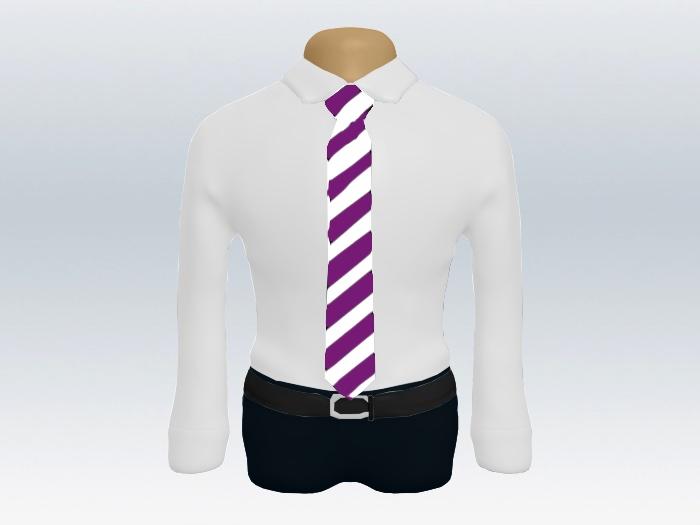 紫白ストライプネクタイと白ワイシャツ