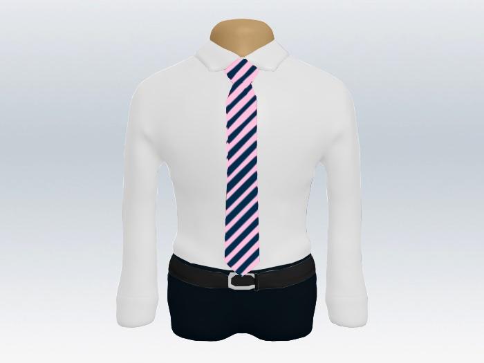 ピンクネイビーストライプネクタイと白ワイシャツ