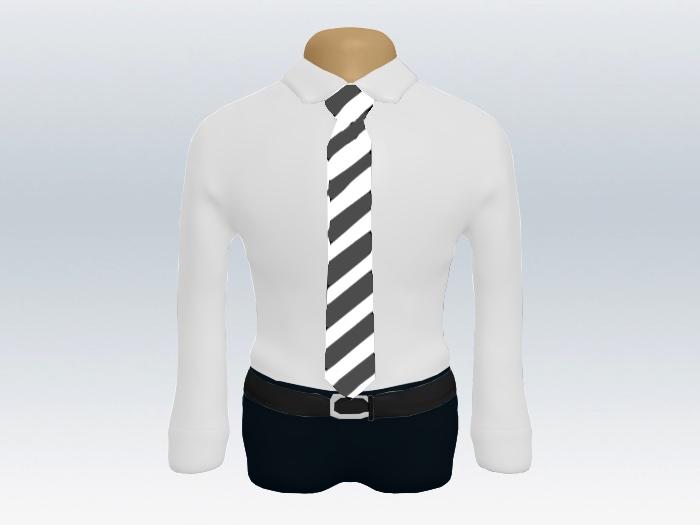 グレーホワイトストライプネクタイと白ワイシャツ