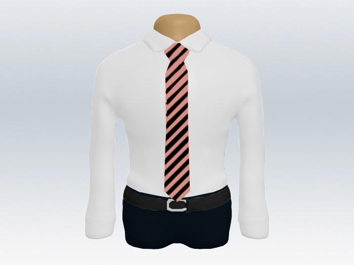ピンクブラックストライプネクタイと白ワイシャツの着こなし
