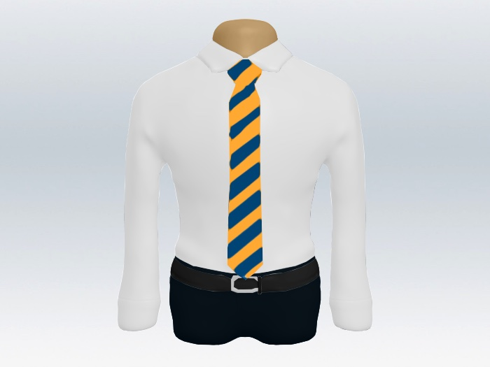 オレンジ紺ストライプネクタイと白ワイシャツ