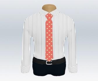 ストライプワイシャツと小紋柄ネクタイの着こなし