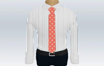ストライプシャツピンク小紋柄ネクタイ