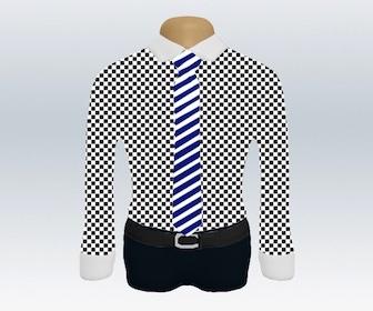 チェック柄ワイシャツとストライプネクタイの着こなし