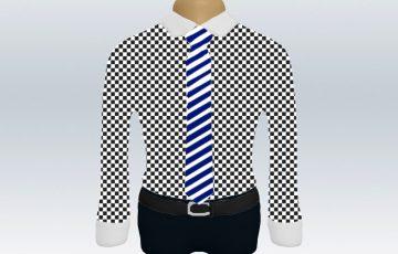 チェックシャツクレリック紺白ストライプネクタイ