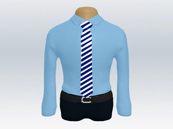 青ワイシャツ白紺ストライプネクタイ