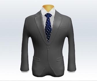 ライトグレースーツとドット柄ネクタイの着こなし