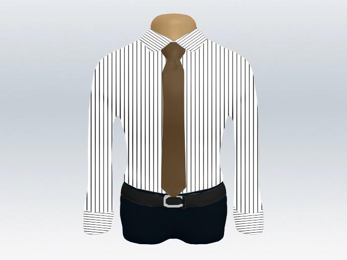 ストライプシャツ茶色無地ネクタイ
