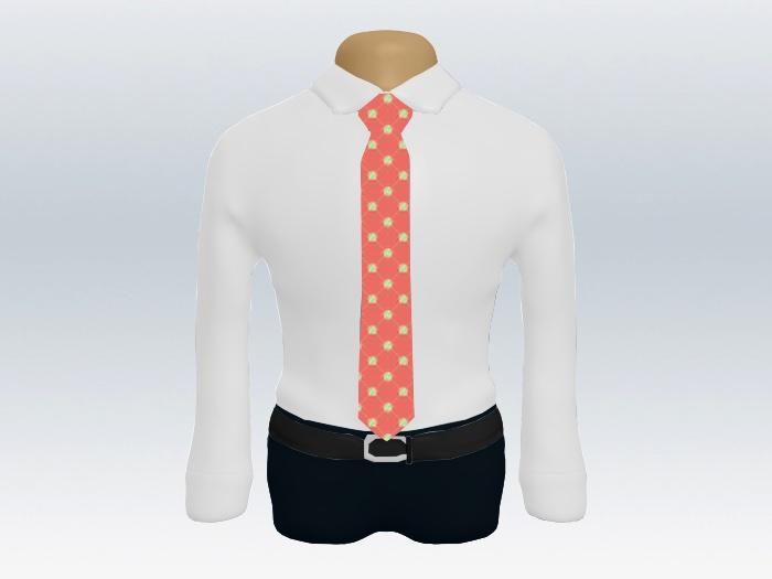 白ワイシャツピンク小紋ネクタイ