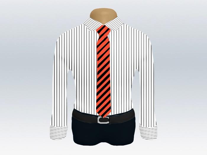 ストライプシャツ赤黒ストライプネクタイ