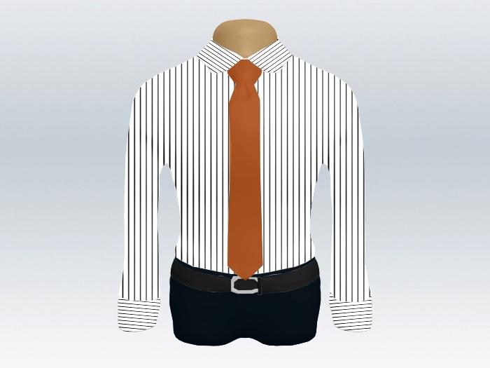 ストライプシャツオレンジ無地ネクタイ