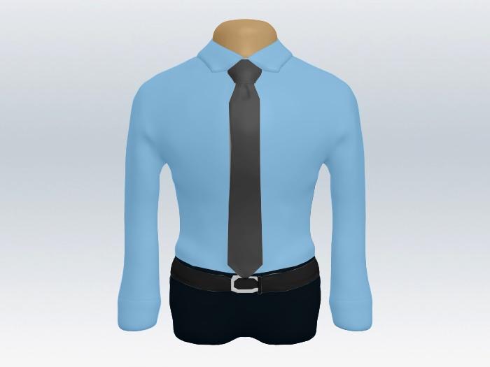 青ワイシャツグレー無地ネクタイ