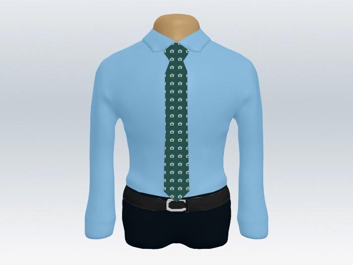 青ワイシャツ緑小紋柄ネクタイ