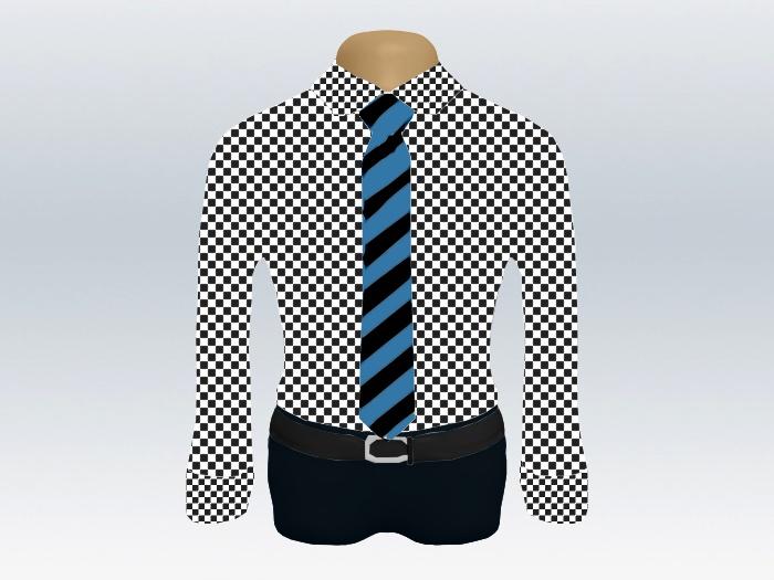 チェックシャツ青黒ストライプネクタイ
