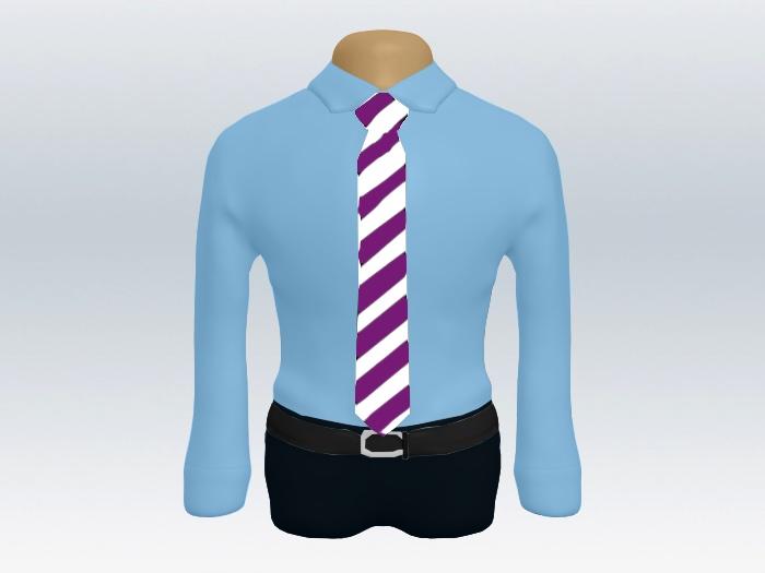 青ワイシャツ紫白ストライプネクタイ