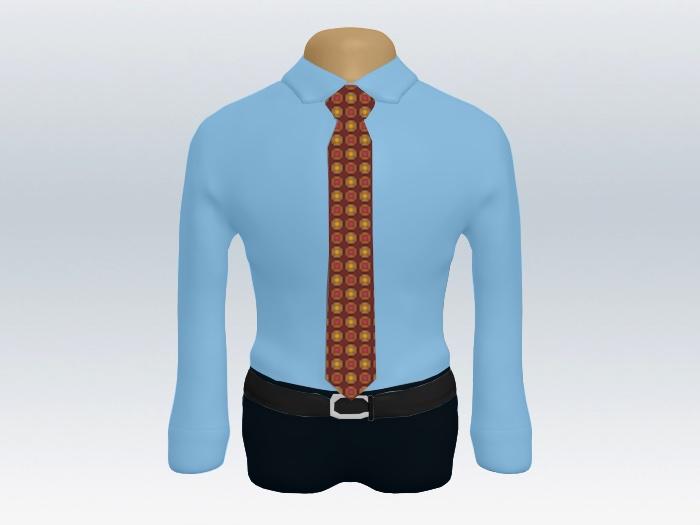 青ワイシャツ赤系小紋柄ネクタイ