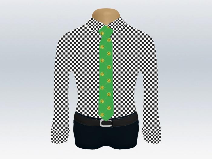 チェックシャツ緑小紋柄ネクタイ