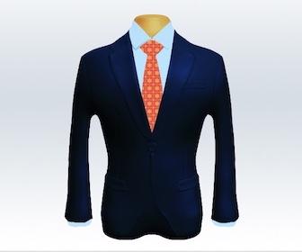 ネイビースーツと小紋柄ネクタイの着こなし
