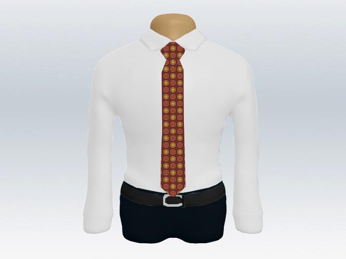 白ワイシャツレッド小紋ネクタイ