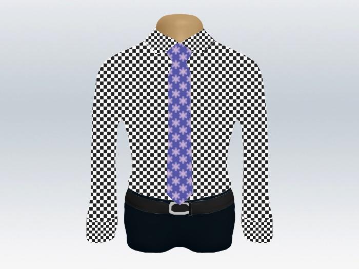 チェックシャツパープル小紋柄ネクタイ