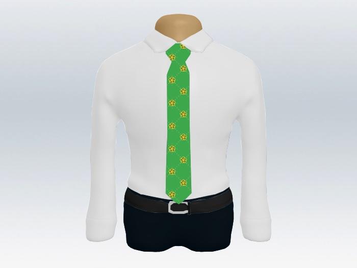 白ワイシャツライトグリーン小紋ネクタイ