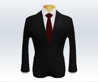ブラックスーツと無地ネクタイの着こなし