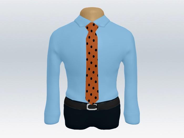 青ワイシャツオレンジドットネクタイ2