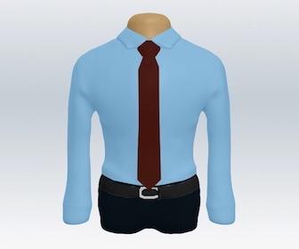 青ワイシャツと無地ネクタイの着こなし