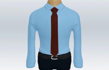 青ワイシャツワインレッド無地ネクタイ