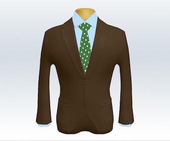 ブラウンスーツとドット柄ネクタイの着こなし