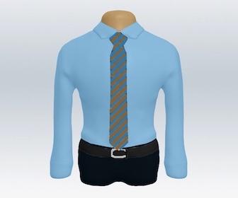 青ワイシャツとストライプネクタイの着こなし