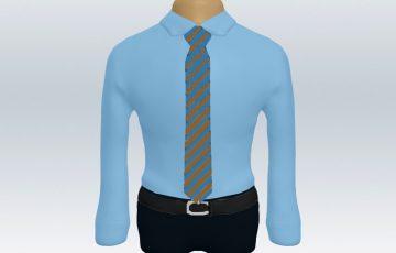 青ワイシャツ茶水ストライプネクタイ